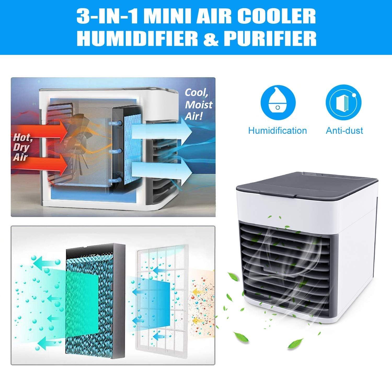 tmtonmoon Mini Aire Acondicionado Port/átil Enfriador de Aire Ventilador Humidificador USB Air Cooler 3 en 1 Velocidades Ajustable 7 Colores LED para Hogar Oficina