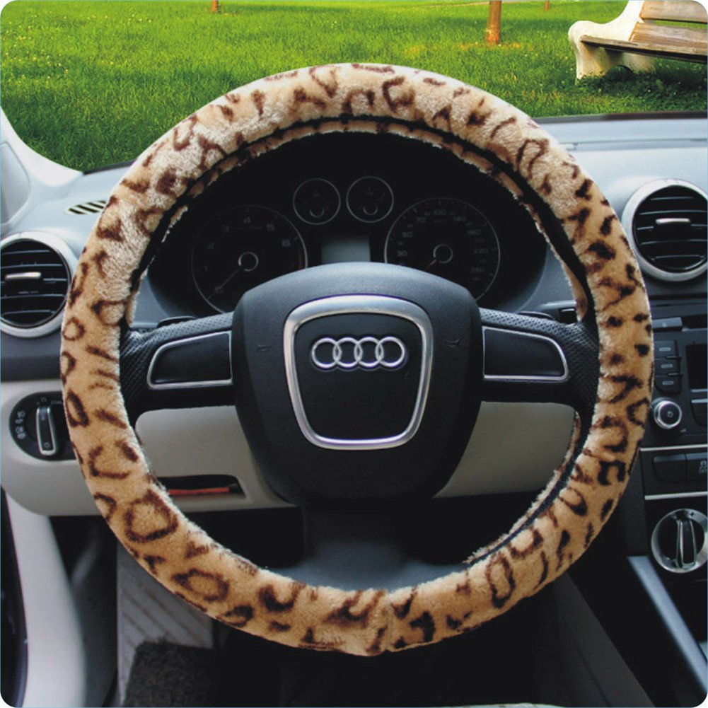Silence Shopping Plush Velour Shaded Cheetah Vehicle Steering Wheel Cover Soft Feel Animal Print Universal Fit Attractive Slip On Car Wheel Protector Coffee