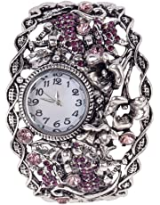 Extravagant Best Quality Anti Silver Metal Ladies Bracelet Wrist Quartz Watch In Art Nouveau Style With Twisted / Winded Ornaments And Purple Crystals / Rhinestones By VAGA