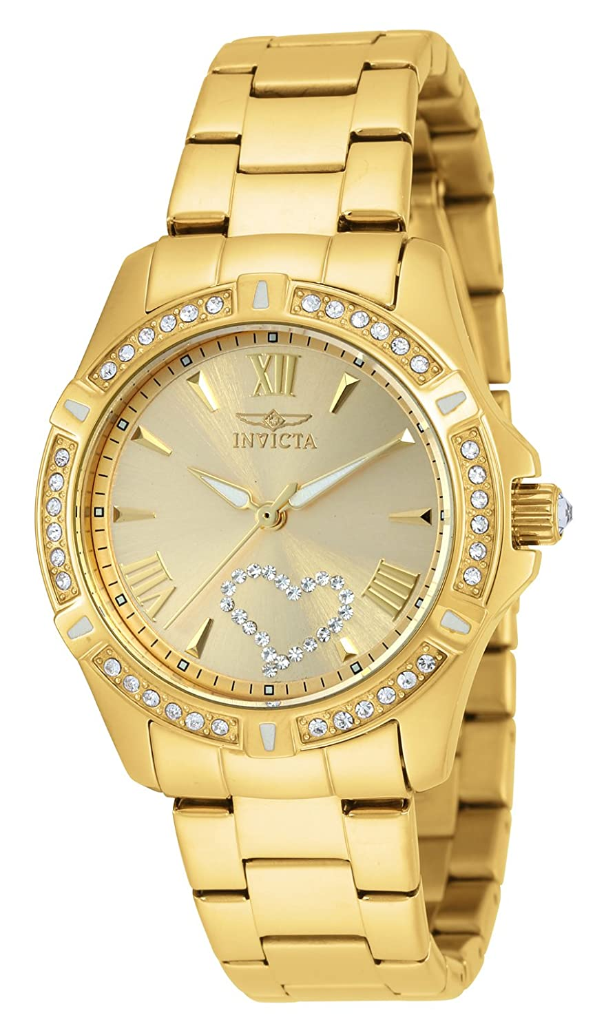 Invicta Women s 21384 Angel Crystal-Accented 18k Gold Ion-Plated Stainless Steel Watch