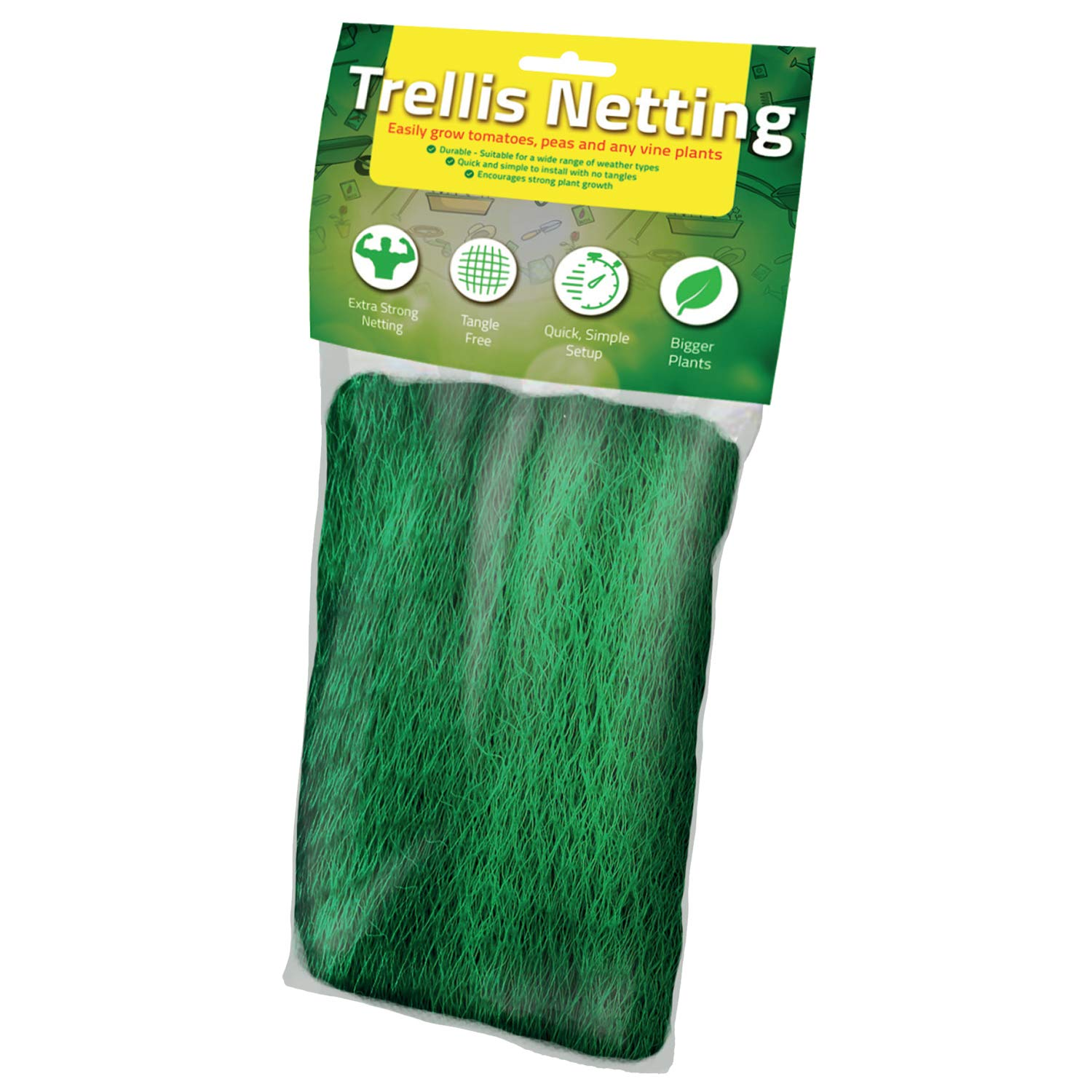 Trellis Netting [Best Heavy Duty NET] Grow Garden Flowers: Green Pea, Cucumber, Tomatoes, Bean and Vine Plants [Supports Strong Growth] Trellis Scrog Mesh Fence - Large 5 x 60 Foot /1.5 x 18.2 Meters