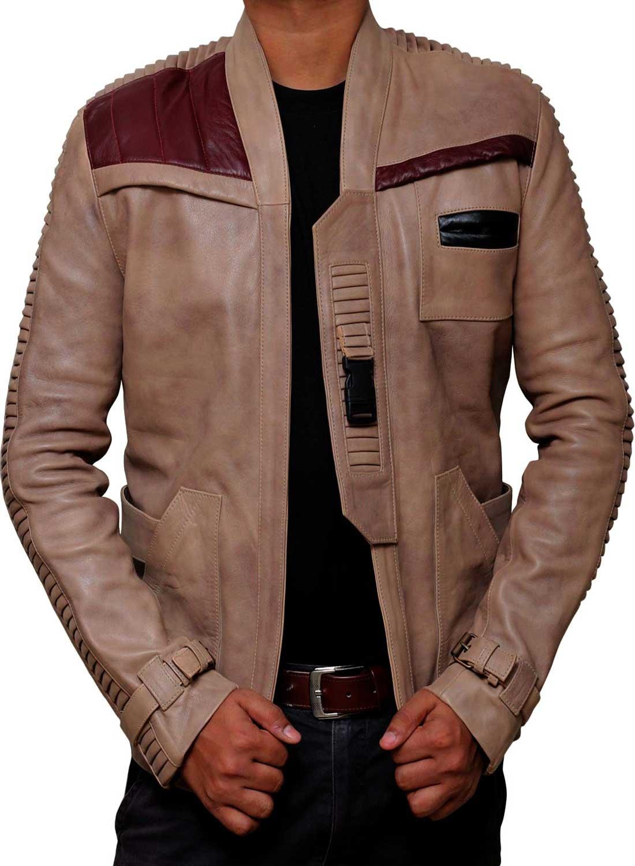 BlingSoul Star Wars Poe Dameron Jacket - Finn Jacket Men Leather Gift (M, Antique Beige) [RL-Finn-Be-M]