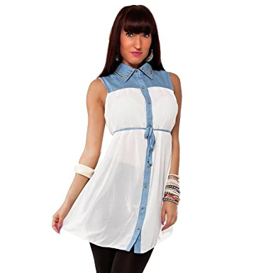 timeless design ab0d4 034ee Damen Business Bluse Hemd mit Kragen Longbluse Kleid Chiffon-Look in 5  Farben Gr. S/MM/L, Größe:M/L;Farbe:Weiss