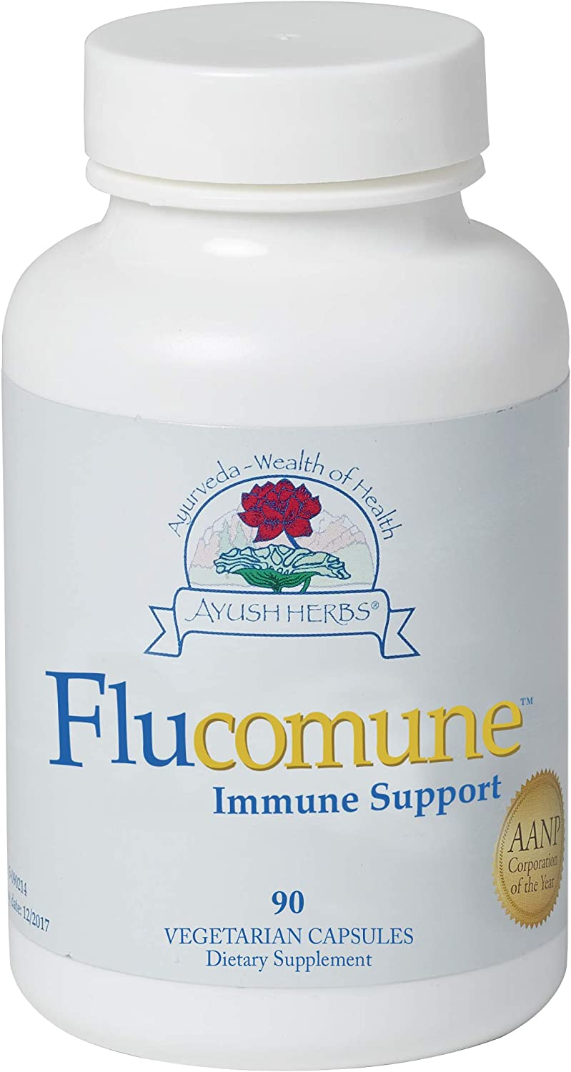 Ayush Herbs Flucomune, Powerful Immune Boosting Respiratory Protection, Certified Organic & Ayurvedic, Promotes Healthy Lung & Nasal Function, Doctor Formulated, 90 Vegetarian Capsules