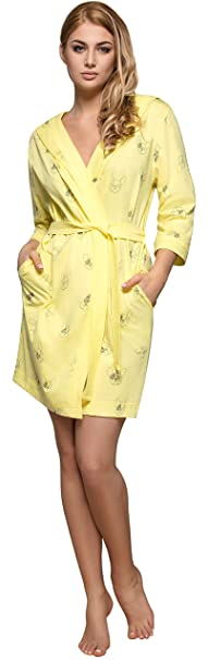 L&L Bata con Capucha Ropa de Casa Mujer 8102 (Limón, ...