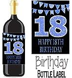 Eternal Design 18th Birthday Bottle Label Wine Gift..... Blue Glitter on Black