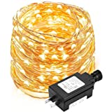 LE Copper Wire String Light, Waterproof, 100 LED, 33ft Decorative Indoor Outdoor Fairy Light for Christmas, Party, Wedding, Patio, Bedroom and More, UL Power Adaptor Included, Warm White.