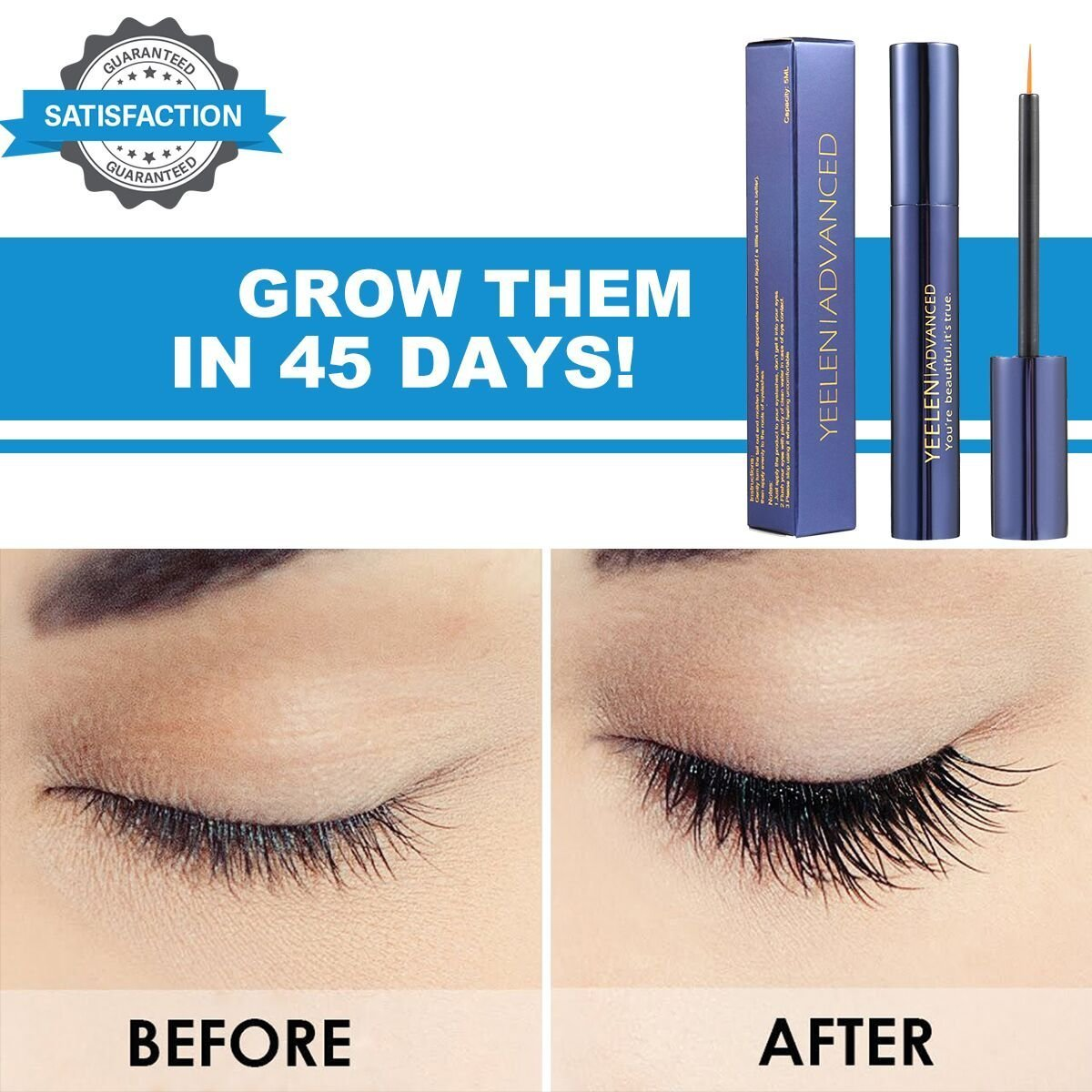 Yeelen Eyelash Eyebrow Growth Serum Grows Longer, Fuller, Thicker Lashes & Brows in 45 days! Enhancer Eyelash Conditioner Non-prescription Eyelash Serum 5ml by Yeelen (Image #3)