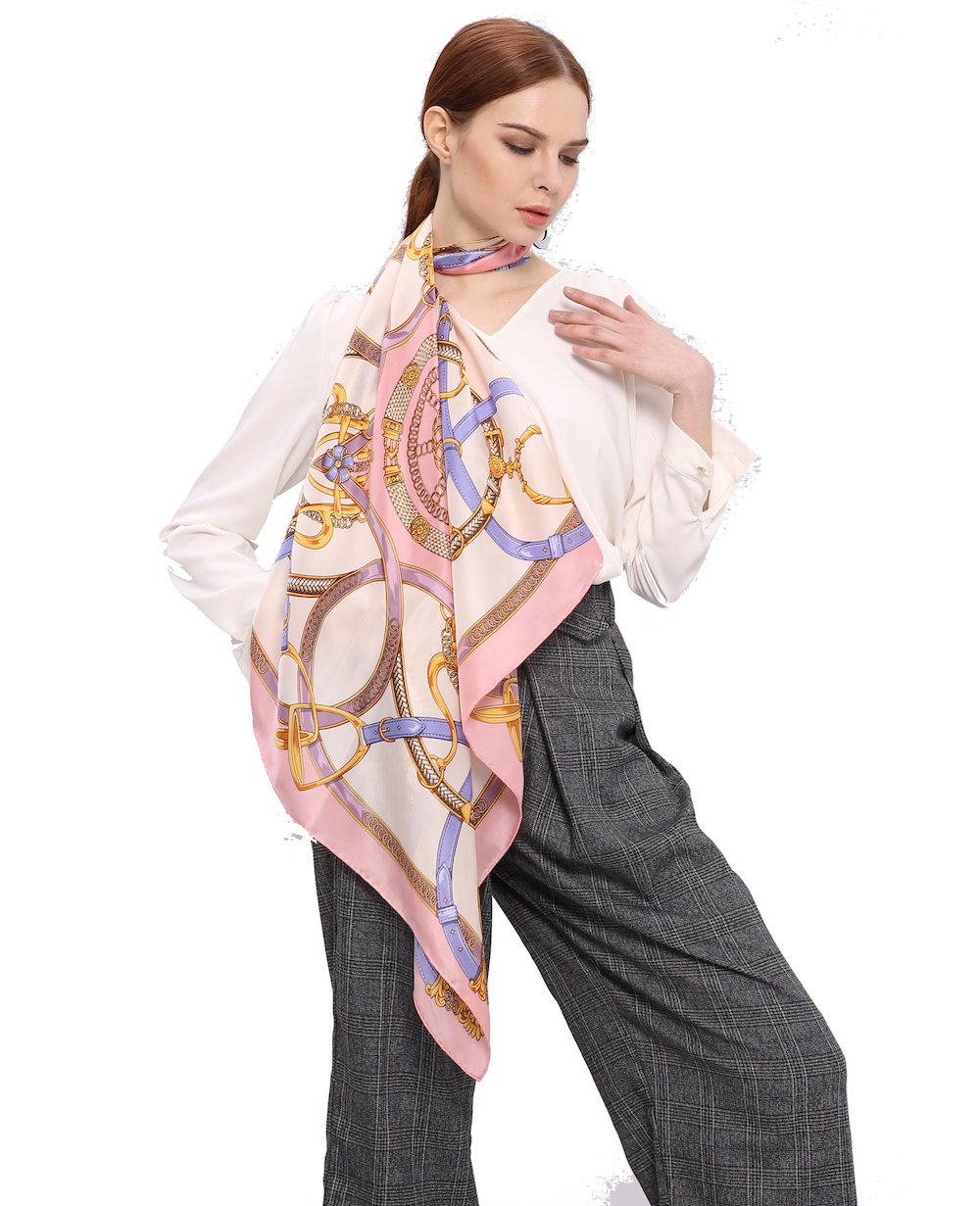 Jeelow 100% Pure Silk Scarf Scarves For Men & Women 36in Square Silk Satin Charmeuse Scarfs For Hair Gift Packaging