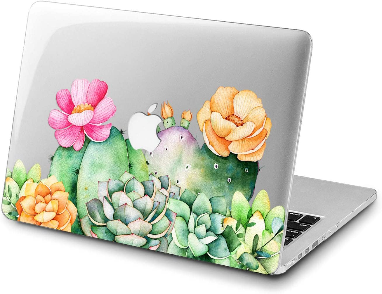 Lex Altern Clear Case for Apple MacBook Air 13 Mac Pro 15 inch Retina 12 11 2020 2019 2018 2017 2016 Girl Green Flowers Cactus Shell Design Protective Watercolor Women Cover Floral Succulent Print