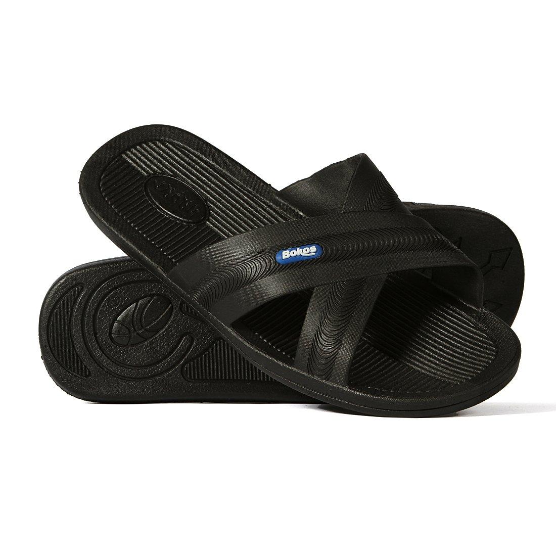 Bokos Men's Rubber, Athletic Slide Sandals in Black 10 US