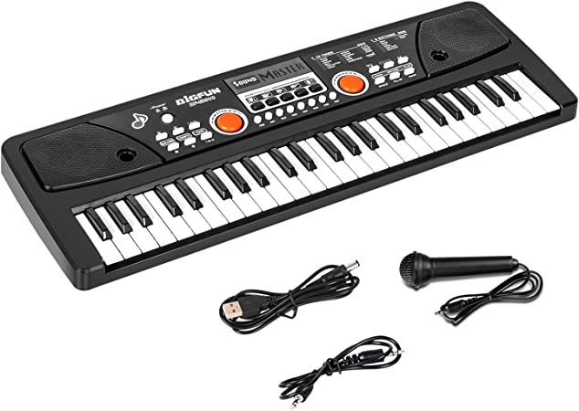 sanlinkee Teclado Electrónico Piano 49 Teclas Keyboard Piano Portátil USB Teclado Electrónico Musica con Micrófono y Audio Línea Juguete Educativo ...