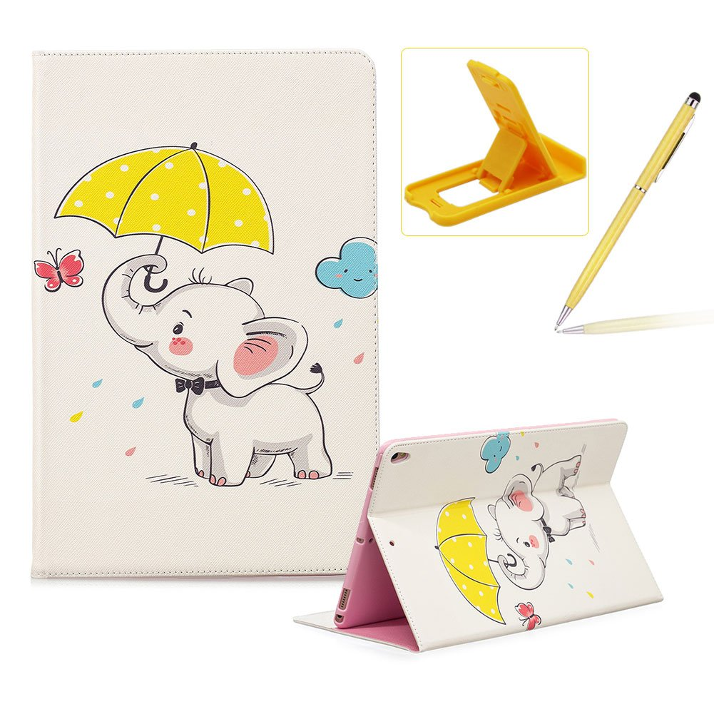 Wallet Leather Case for iPad Pro 9.7, Flip Kickstand Case for iPad Pro 9.7, Herzzer Stylish Pretty [Hello Panda Pattern] PU Leather Purse Folio Smart Stand Cover with Card Cash Slot Soft TPU Inner Case Protective Skin