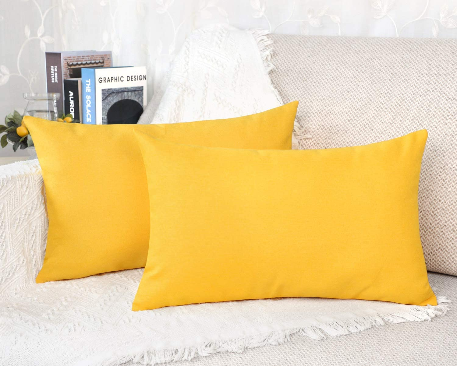 4TH Emotion Outdoor Waterproof Lumbar Pillow Covers Garden Cushion Case for Patio Couch Sofa Polyester Home Decoration Pack of 2, 12 X 20 Inches Lemon Yellow