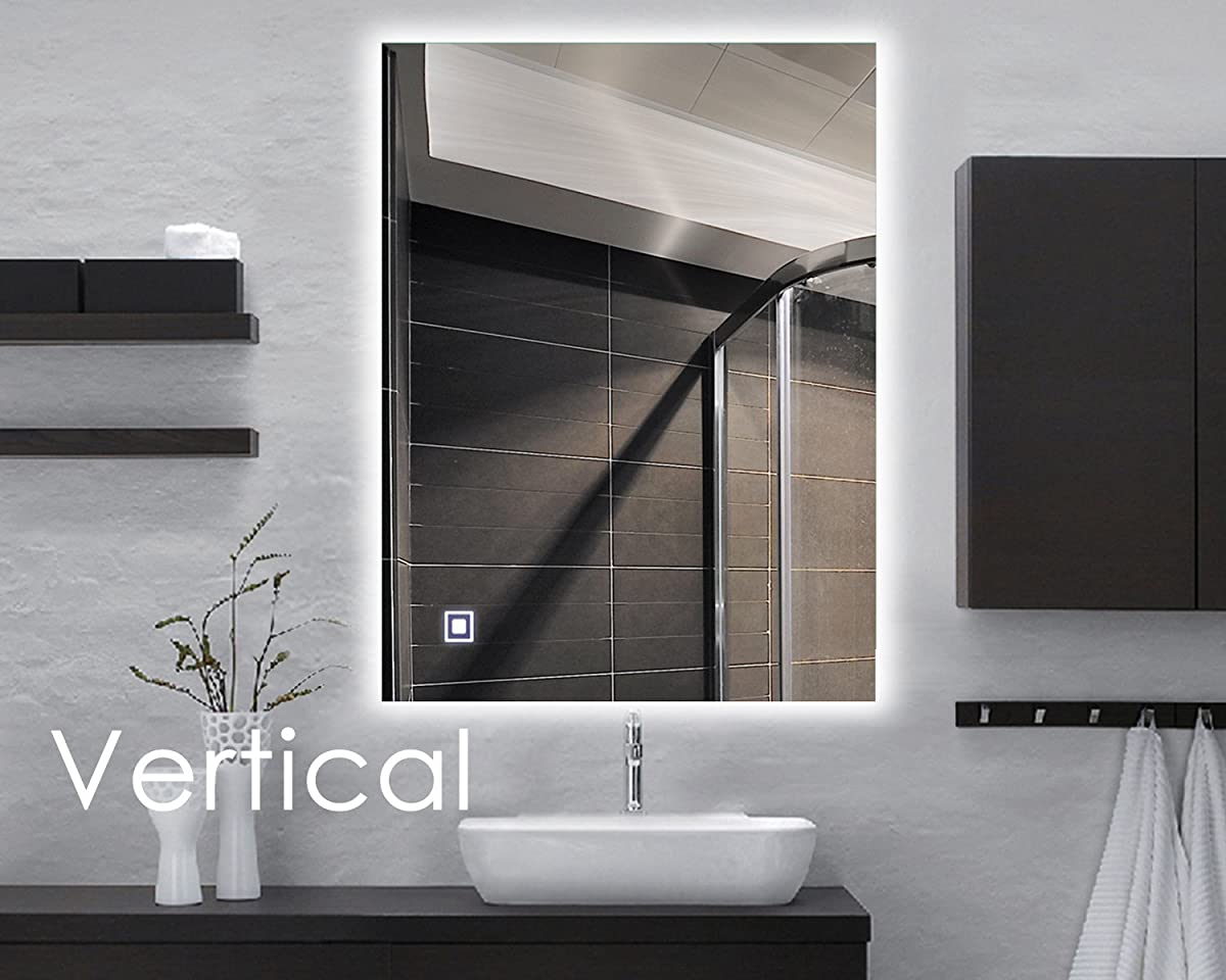 Hans& Alice LED Backlit Mirror, Bathroom Lighted Makeup Mirror–Dimmable, Anti Fog, Touch Screen and 90+ CRI (32x24)