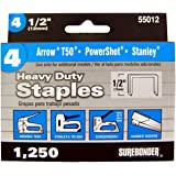 Surebonder 55012 Heavy Duty 1/2-Inch Length Staples, Arrow T50 Type, 1250 Count