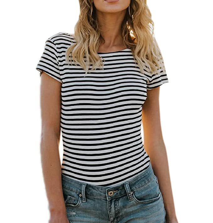 Freestyle Verano Mujeres Slim Blusa Casual Cuello Redondo Manga Corta T-Shirt Joven Moda Rayas Backless Tops tee Camisetas Remata: Amazon.es: Ropa y ...