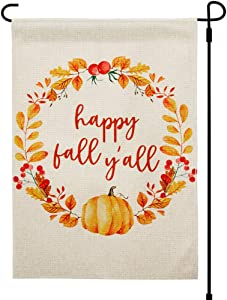 Fall Garden Flags 12.5x18 Inches Prime Double Sided Happy Fall Y'all Weatherproof Heavy Duty Small Yard Garden Flag for Outside Decorations