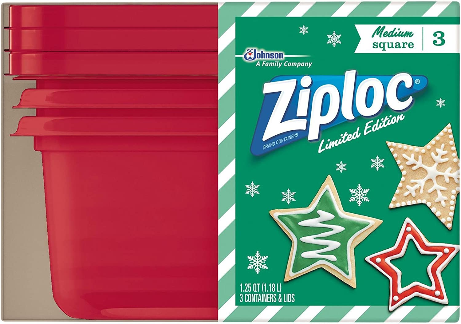 Ziploc Limited Edition Holiday Medium Square Container, Red, 3 Count