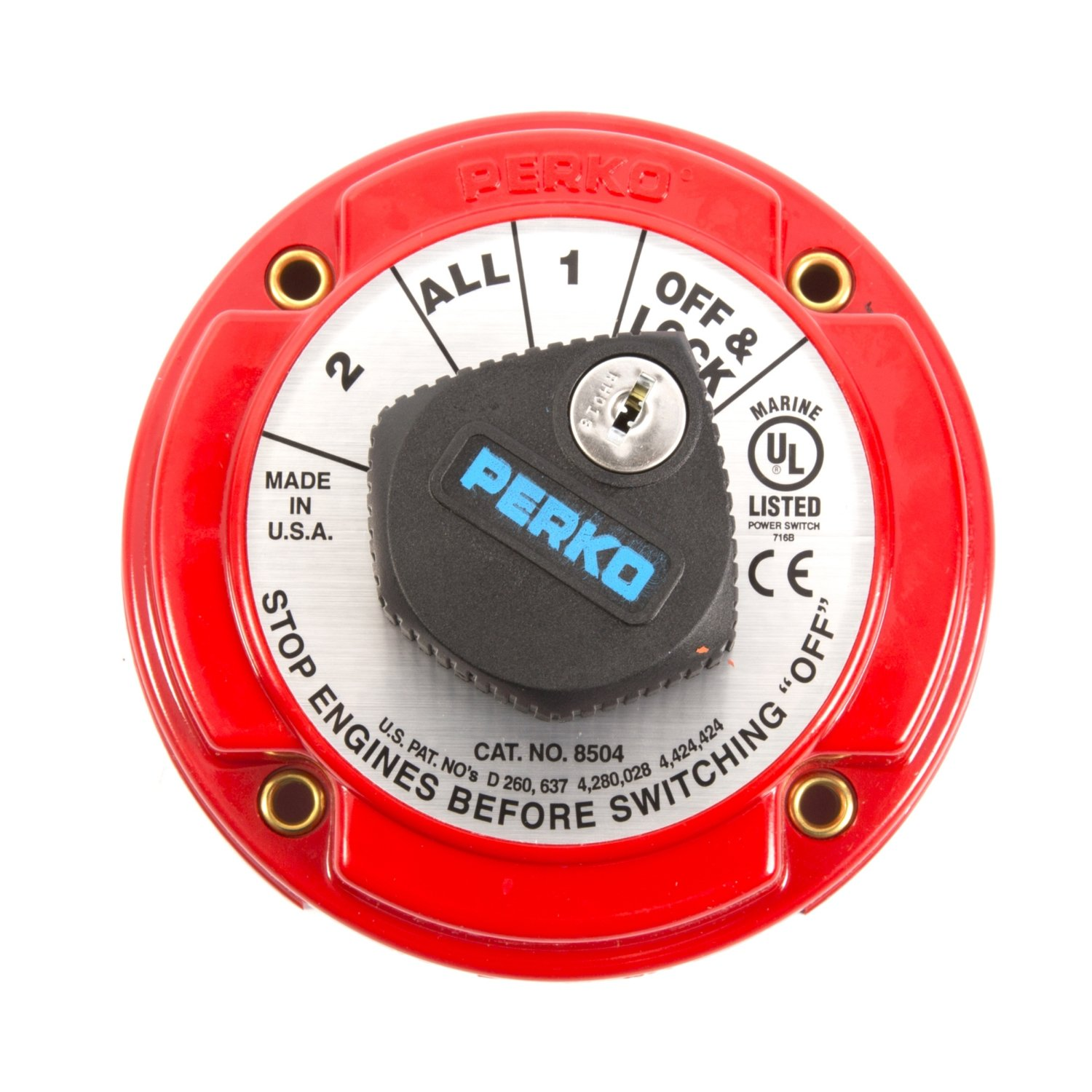 Perko 8504DP Medium Duty Battery Selector Switch with Alternator Field Disconnect and Key Lock