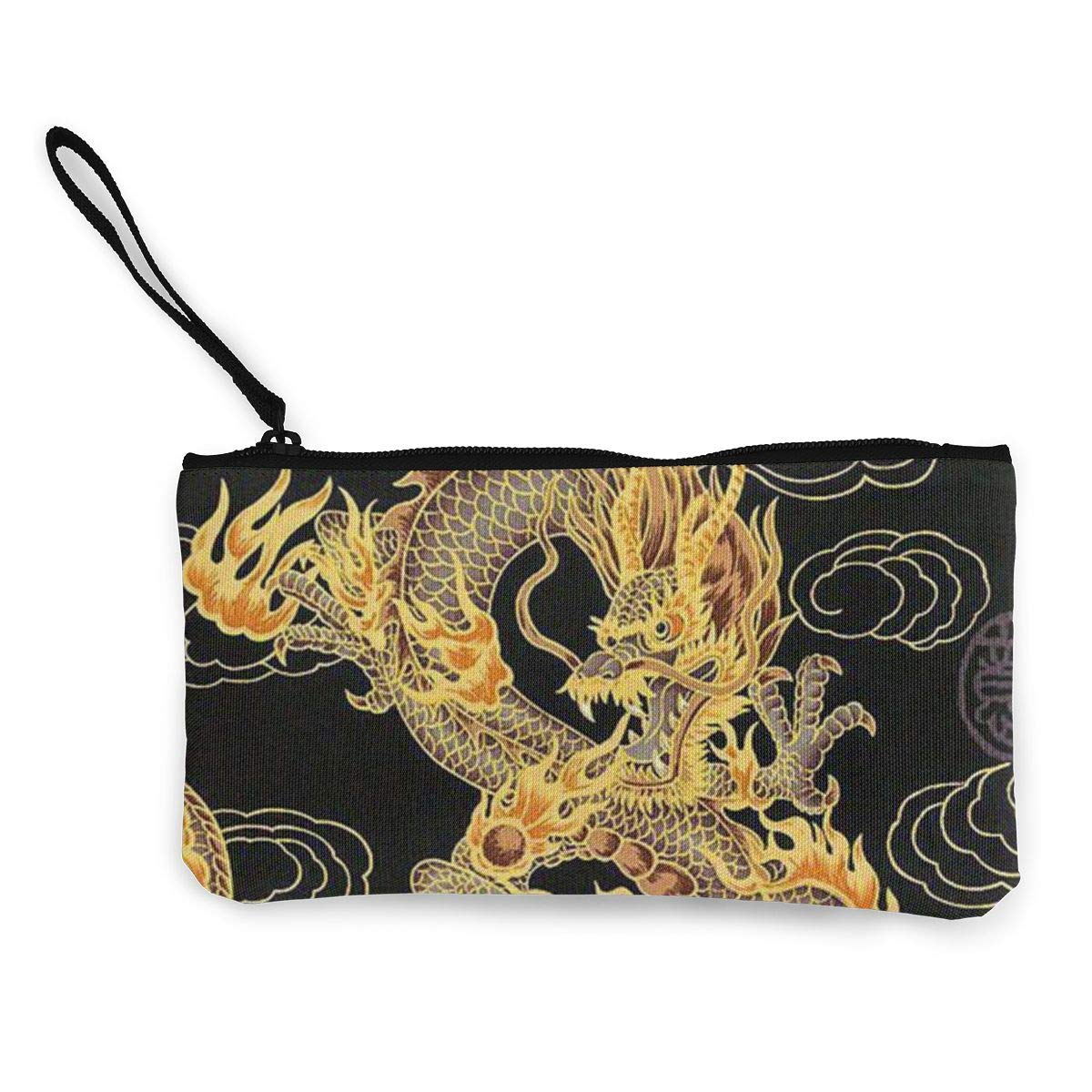 Canvas Cash Coin Purse,Yellow Dragon Black Background Print Make Up Bag Zipper Small Purse Wallets