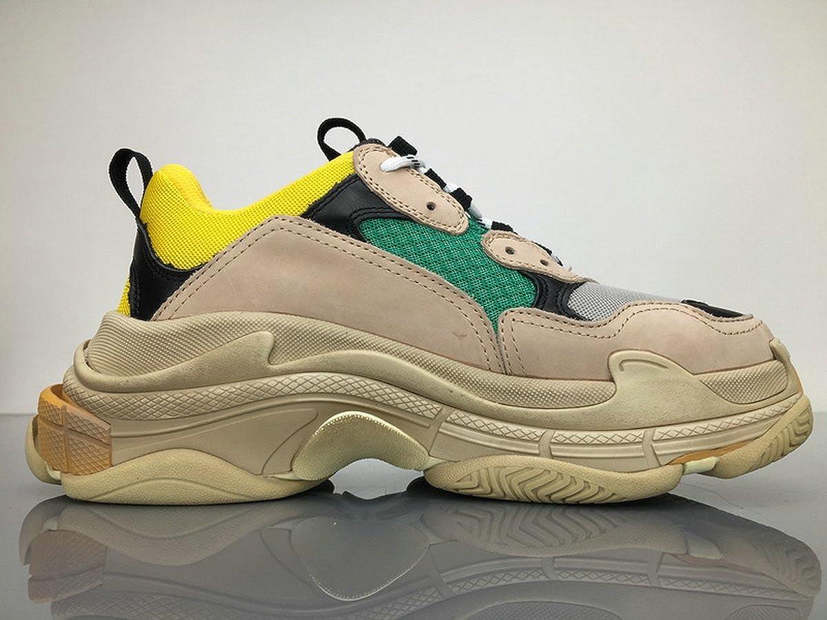 BestVIPP Unisex Balenciaga Sneakers Balenciaga Triple S Sneakers Beige Green Yellow for Hombre Mujer Zapatillas: Amazon.es: Zapatos y complementos
