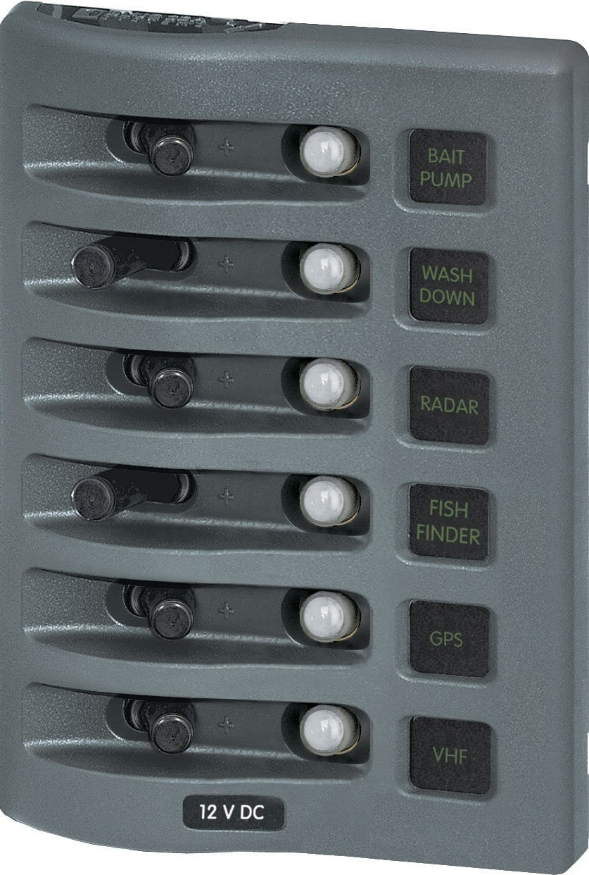 Blue Sea Systems WeatherDeck 12V DC Waterproof 6-Position Circuit Breaker Panel, Grey 4376