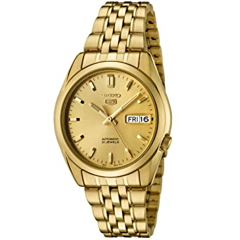 535b79c3c Image Unavailable. Image not available for. Color: Seiko Men's SNK366K Seiko  5 Automatic Gold Dial Gold-Tone Stainless Steel Watch