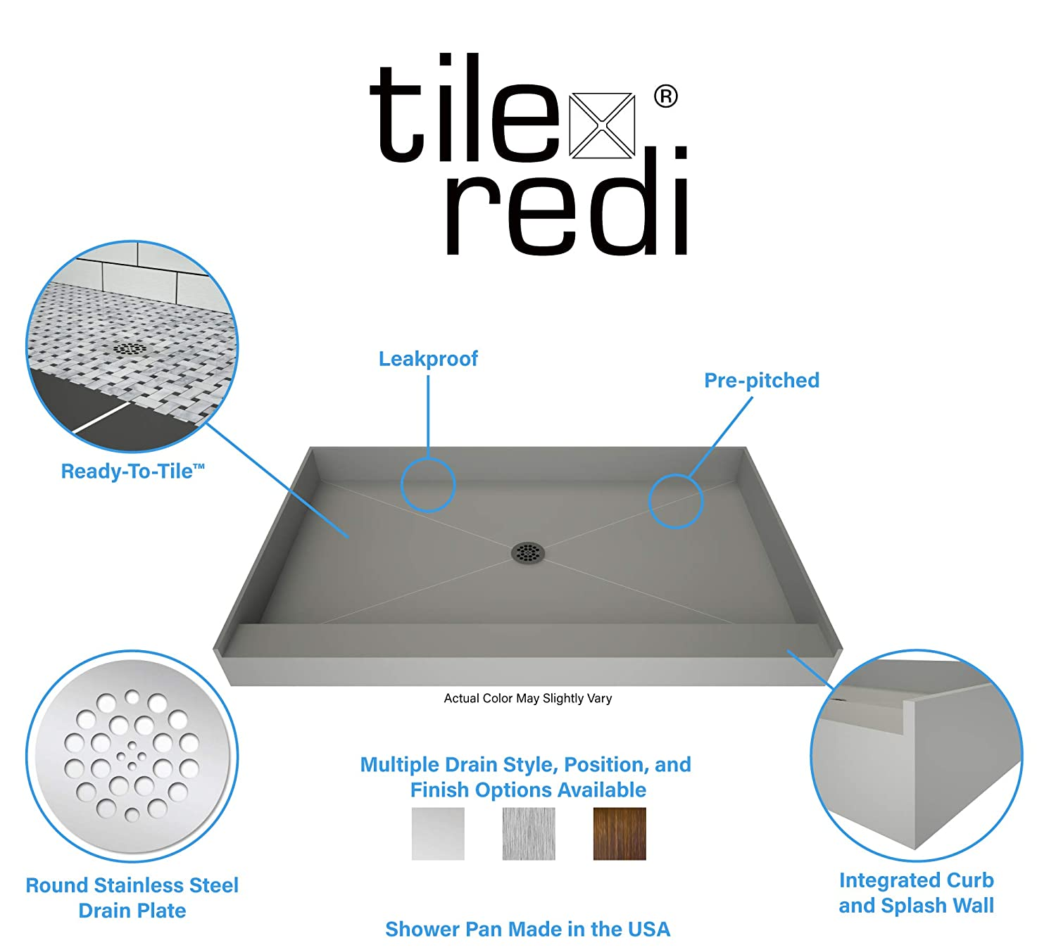 Tile Redi USA P3642C-PVC Base Shower Pan 42