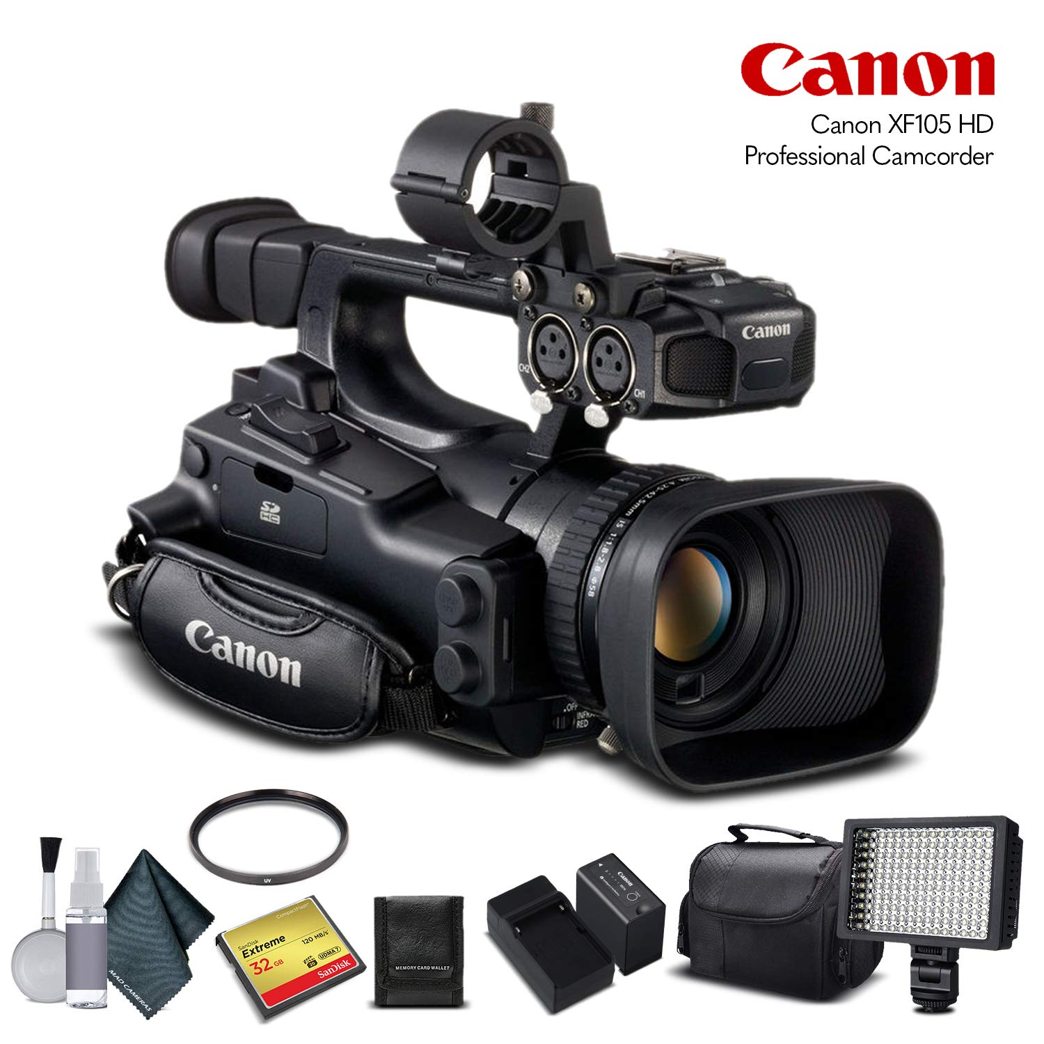 Amazon.com : Canon XF100 HD Professional Camcorder (4888B001) with 32GB Memory Card, Extra Battery and Charger, UV Filter, LED Light, Case and More.