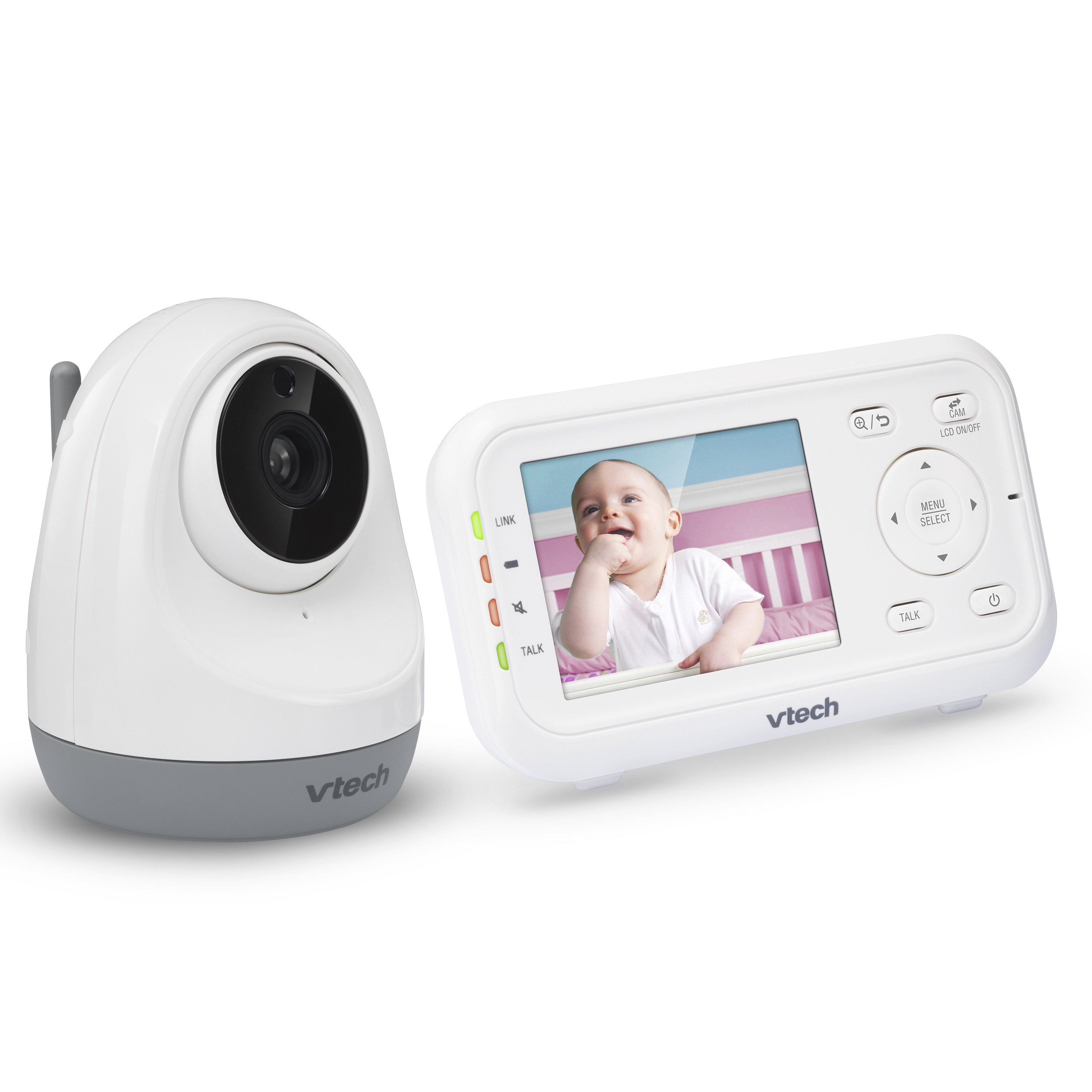 VTech VM3261 2.8'' Digital Video Baby Monitor with Pan & Tilt Camera, Full Color and Automatic Night Vision, White