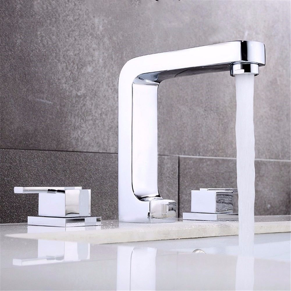AQMMi Basin Taps Bathroom Sink Faucet Brass Hot and Cold Water Split-Piece Bathroom Sink Faucet Basin Mixer Tap