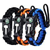 WEREWOLVES Adjustable Paracord Survival Bracelet, Multifunction Outdoor Survival Bracelet Camping Hiking Gear with Compass, Fire Starter, Whistle and Scraper - Hiking,Camping Gear