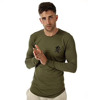 3a69939a7 Gym King Mens Mens GK Longsleeve Fitted T-Shirt in Olive - L  Gym King   Amazon.co.uk  Clothing