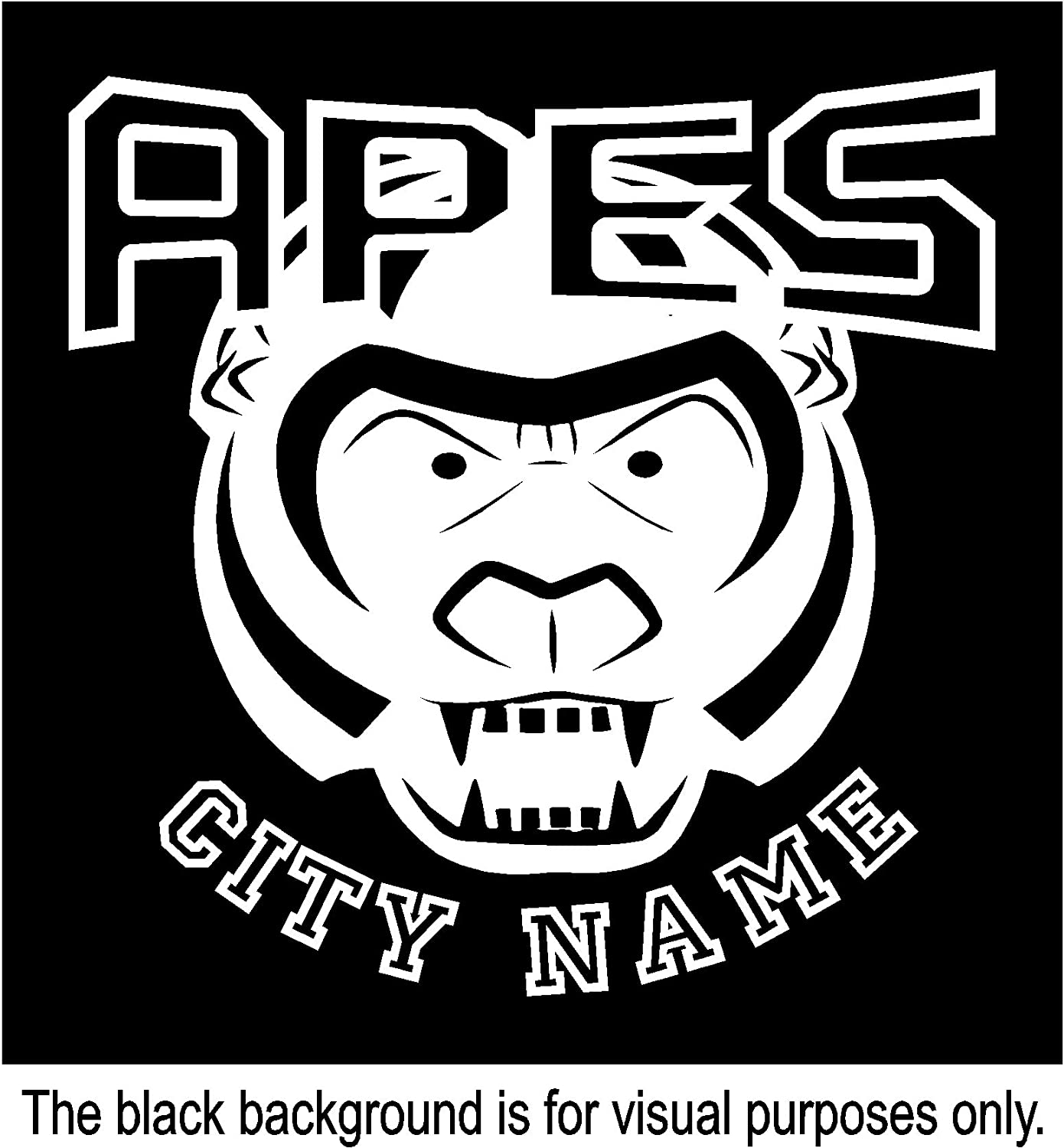 Apes Sport Team Mascot City Name Custom Customize Decal Sticker Vinyl Car Window Tumblers Wall Laptops Cellphones Phones Tablets Ipads Helmets Motorcycles V and T Gifts