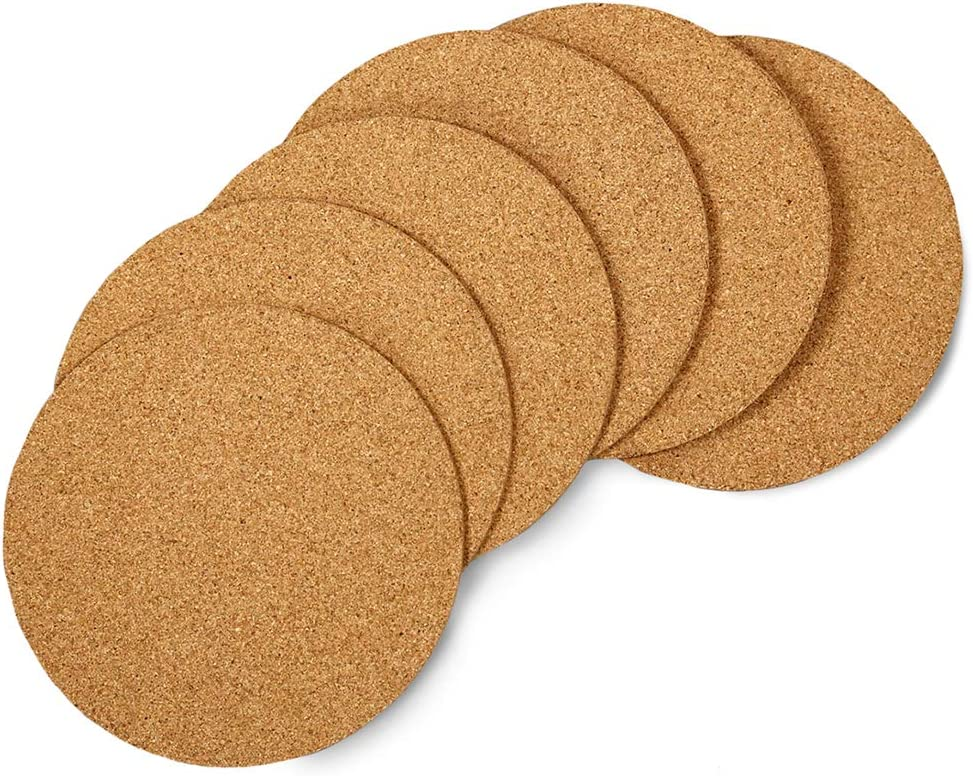 """Hygloss Products Natural Cork Coasters - 3mm Eco Friendly Absorbent Saucers for Coffee, Cups, Wine & Drink Glasses, - 6"""", Set of 6"""