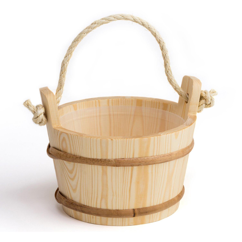 Pinetta - Seau de sauna (poigné e de corde) - Pin, 4 litre - Inté rieur en plastique (Originaire de Finlande) [5991] 4 litre - Intérieur en plastique (Originaire de Finlande) [5991]