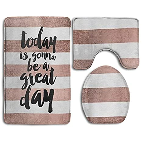 ShowFmD Quote Great Day Typography Rose Gold Stripe Non Slip Bathroom Bath Mat Rug Set