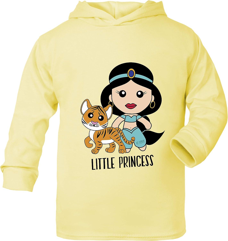 Aladdin Princess Jasmine Top T-Shirt con Cappuccio in Cotone et/à 0 Mesi 6 Anni