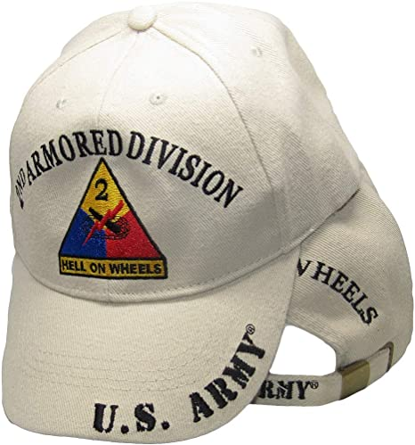 U.S ARMY 2ND ARMORED DIVISION Hell on Wheels Shadow Black Embroidered Cap Hat