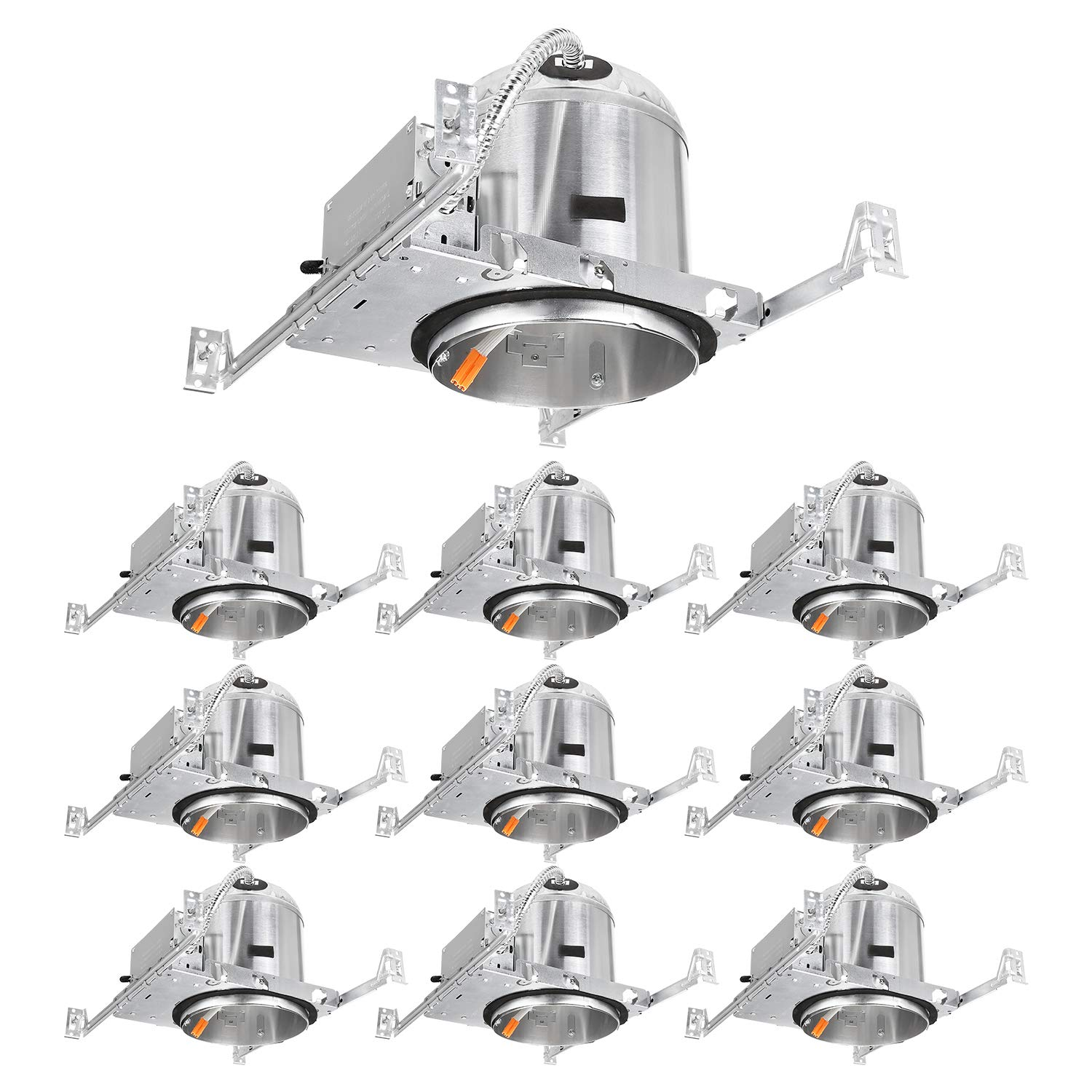 Pack of 10 OMDNCRH-6TP24-10P TORCHSTAR 6 Inch LED Ceiling Recessed Housing for New Construction ETL-Listed Aluminum IC Rated Air Tight TP24 Quick Connector 2 Years Warranty