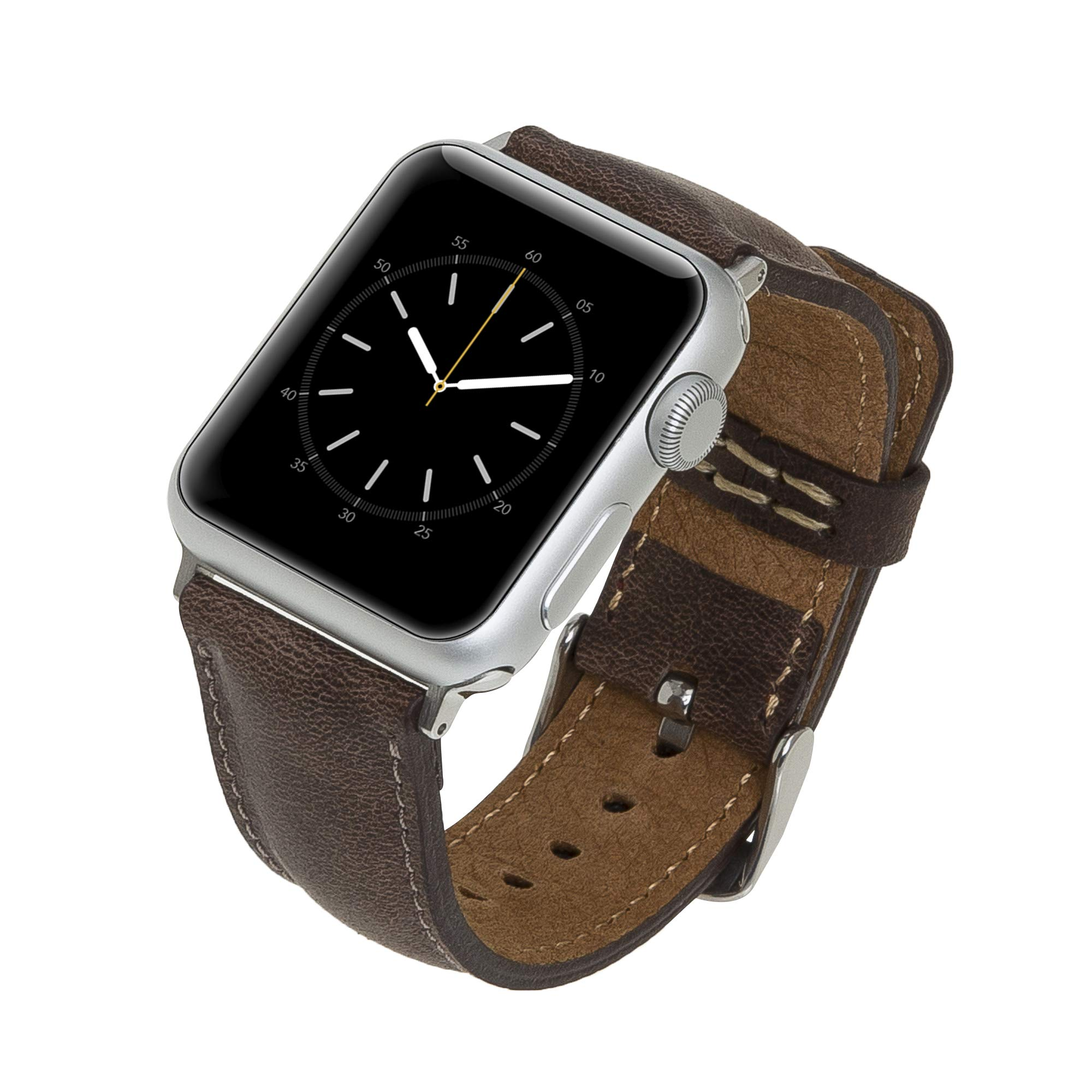Venito Tuscany Handmade Premium Leather Watch Band Strap Compatible with The Newest Apple Watch iwatch Series 5 as Well as Series 1,2,3, 4 (Coffee Brown w/Silver Stainless Steel Hardware, 42-44mm) by Venito