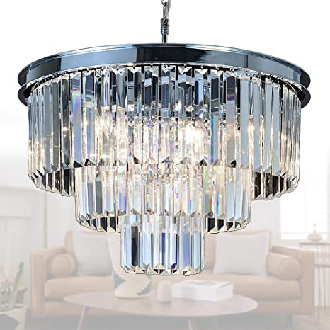 Meelighting Crystal Chrome Chandelier Modern Chandeliers Lighting 8 Lights Pendant Ceiling Light Fixture 3 Tier For Dining Room Living Room Kitchen