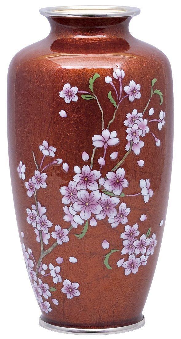 七宝焼 80号並 赤地さくら(銀彩)花瓶 109-20 B0769B9CLB