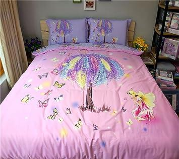 Dodou New Style Butterfly Garden Theme Duvet Cover Sets Girls Bedding Set  Reactive Printing Gueen 4pcs