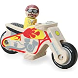Indigo Jamm Motorbike Micky, Retro Wooden Toy Motorbike, Classic Style Vehicle with Removable Driver