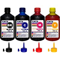 Kit 2 Litros (4 x 500 ml) Tinta Epson Impressoras L355 L365 L375 L380 L395 L396 L455 L465 L475