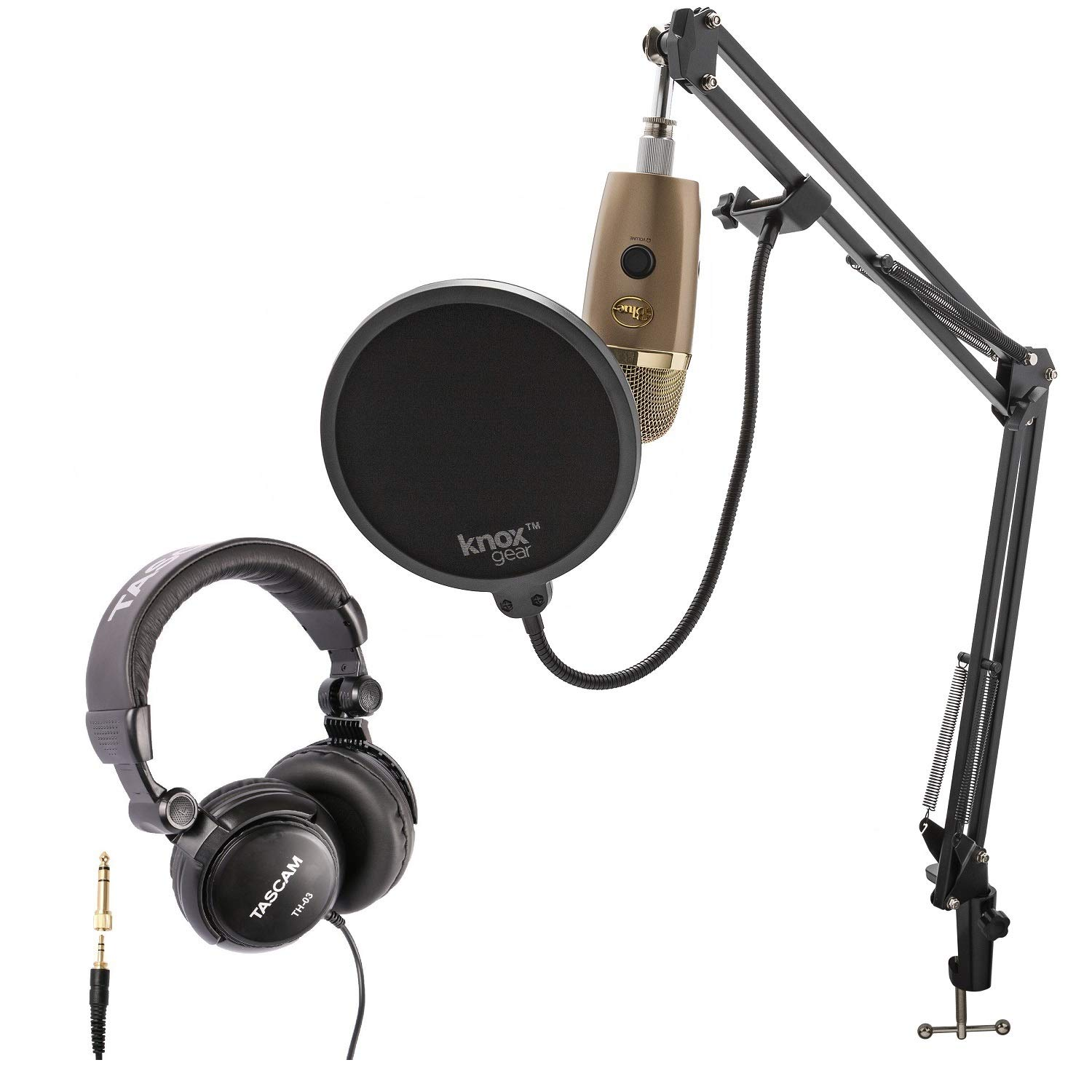 Blue Yeti Nano Premium USB Microphone (Cubano Gold) with Tascam TH-03 Closed Back Over-Ear Headphones, Knox Gear Boom Scissor Arm and Pop Filter by Blue Microphones