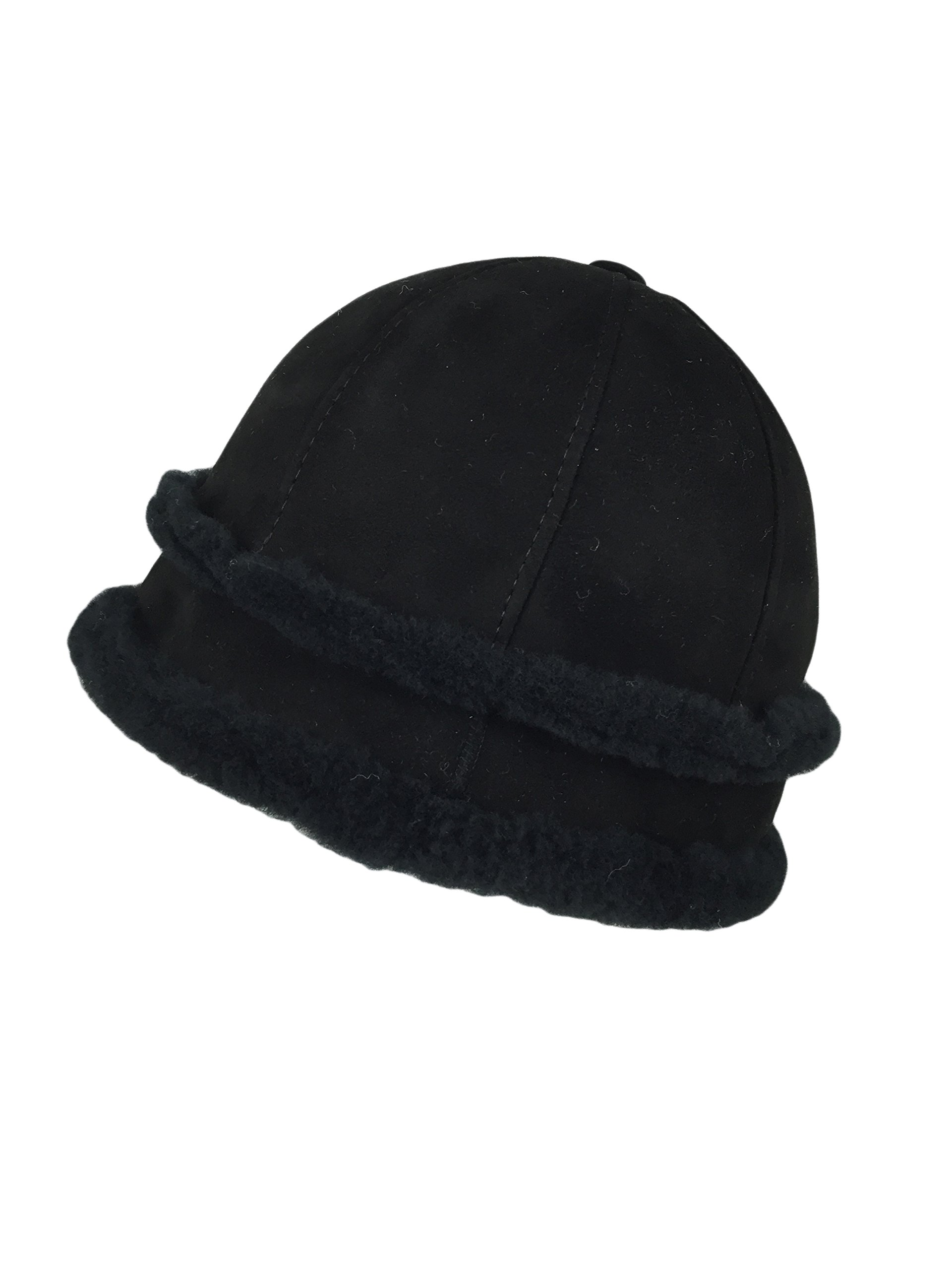 Zavelio Women's Shearling Sheepskin Winter Fur Bucket Beanie Hat Black Suede XXL