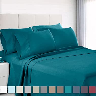 Empyrean Bedding 6 Piece Set - Hotel Luxury Silky Soft Double Brushed Microfiber - Hypoallergenic Wrinkle Free Bed Sheets - Deep Pocket Fitted Sheet, Top Sheet, 4 Pillow Cases, Queen - Teal Blue